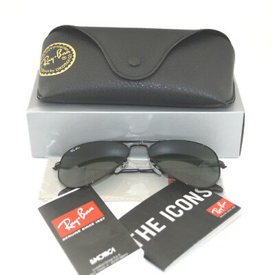 Ray Ban RB 3025 Aviator W3235 Black Frame/ Green Classic G-15 Glass Lens (Ray Ban G15 Lens)