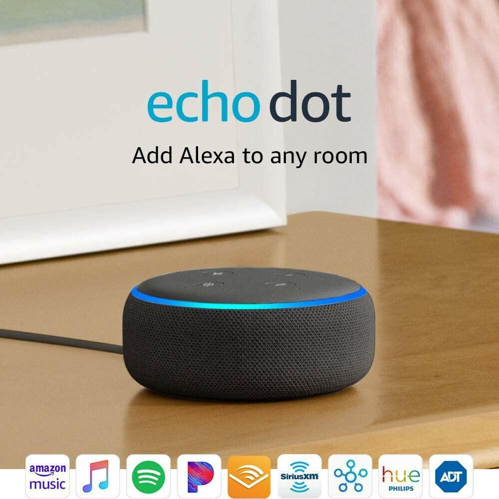 UNOPENED BRAND NEW Amazon Echo Dot 3rd Gen Alexa - Charcoal Auction - $25.01