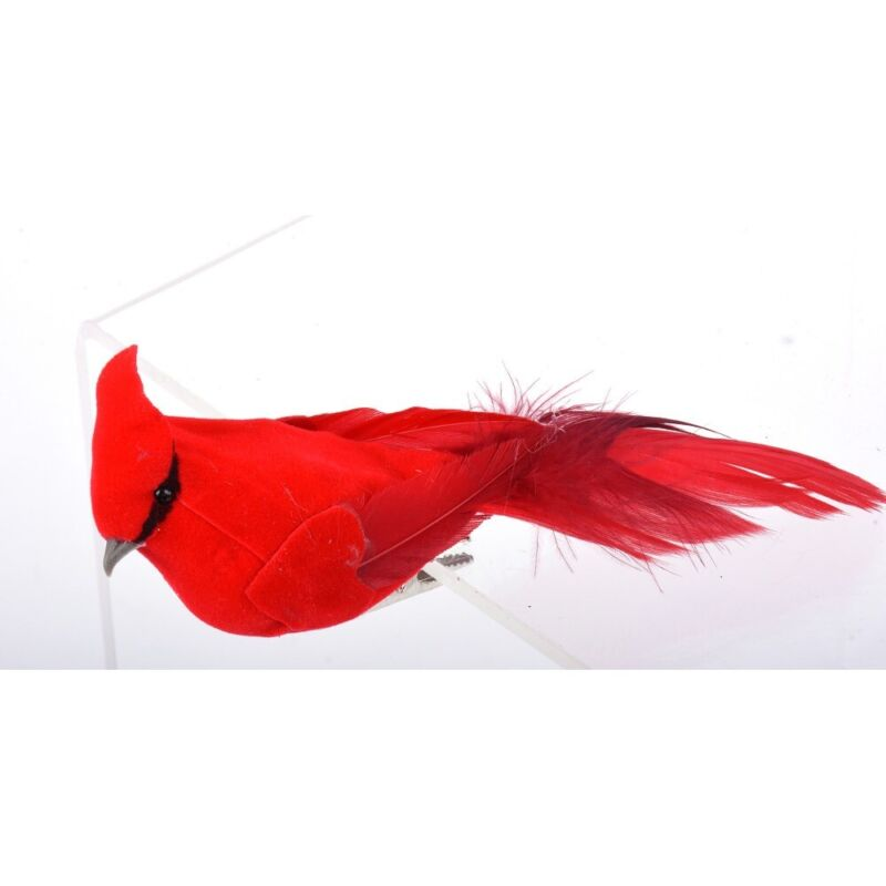 """Box Of 6 Clip On 6"""" Christmas Cardinals"""