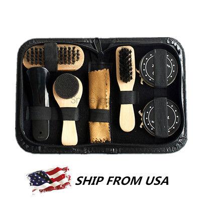 Shoes Leather Care Kit Black & Shoes Care Kit Cleaning Shine Polish Brush Set US
