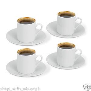 4 Cup & Saucer Plain White Espresso Coffee Set - 8 Piece Set Favour - Gift