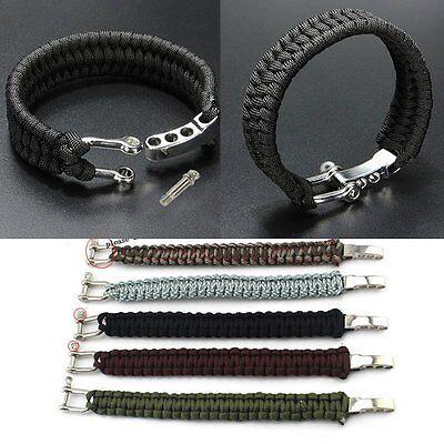 Hot Sale  Rope Outdoor Survival Bracelet Camping Steel Shackle Buckle STYLE WQA