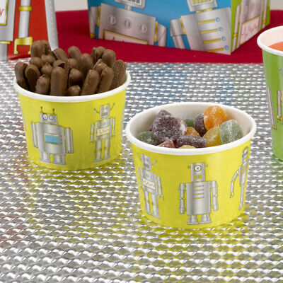 16 x Robot Heroes Paper Treat Tubs Boys Birthday Party Tableware Supplies Sweets Robot Birthday Party Supplies