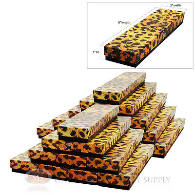 25 Leopard Print Cotton Filled Jewelry Gift Boxes Bracelet Watch Pendant 8 X 2