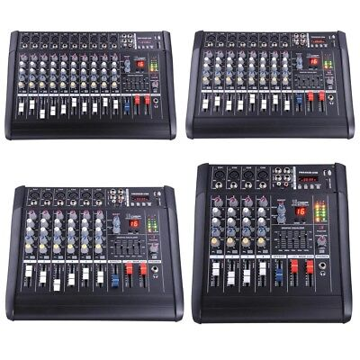 DJ Studio Power Mixer Amplifier 16DSP LCD Recording USB Slot 4 6 8 10 Channel ()