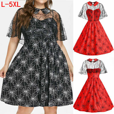 New Women Holloween Party Cobweb Print Yarn Sleeveless Camis Party Dress + Shawl](Holloween Dresses)