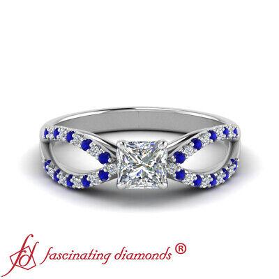 1 Carat Princess Cut Diamond & Sapphire White Gold Split Shank Engagement Ring