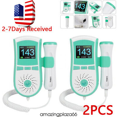 2pcs Pocket Color Fetal Doppler Baby Heart Monitor Backlight Lcd 3mhz Probegel