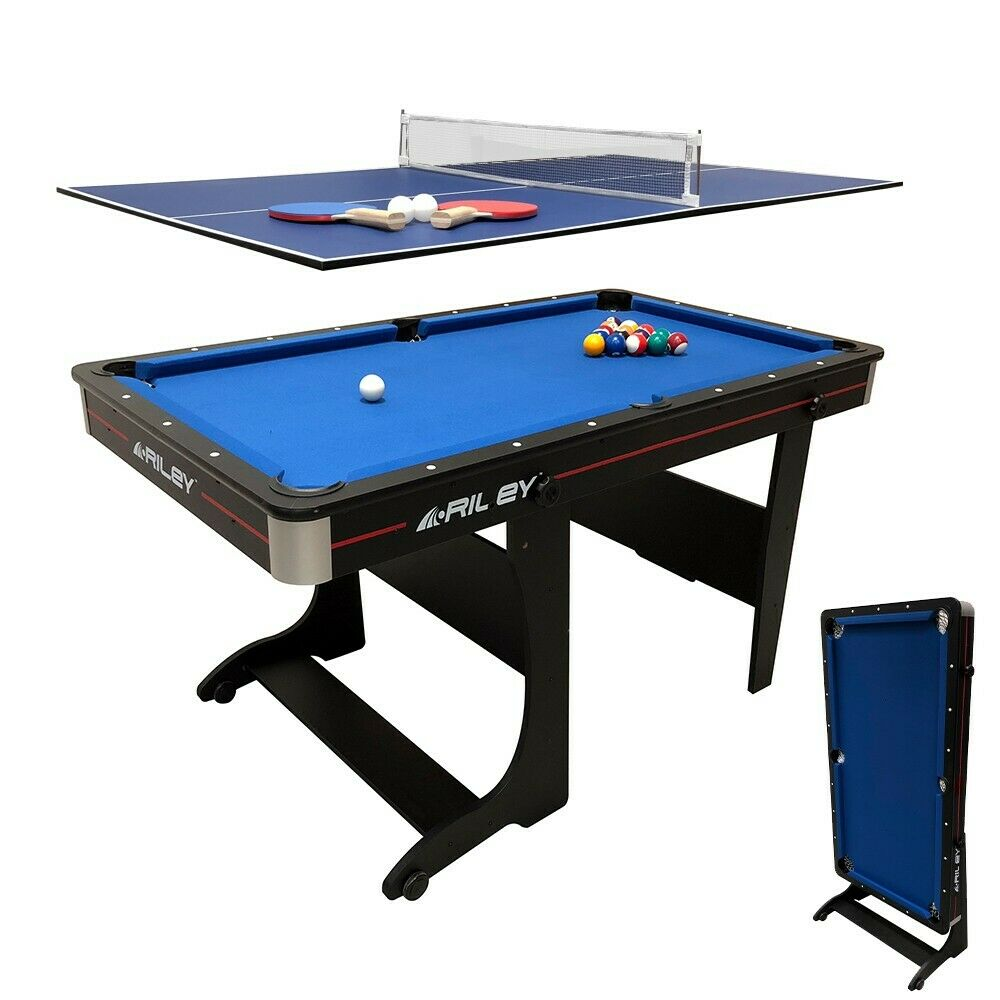 Riley Folding Pool Table 2 in 1 - 5ft Folding - with Table Tennis Top Uk Seller