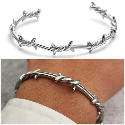 Bracciale da uomo in acciaio inox rigido braccialetto con filo spinato