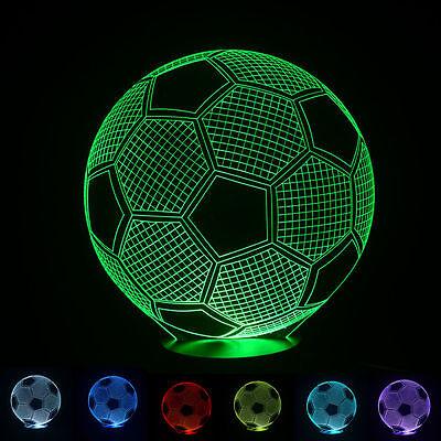 Football Soccer Ball 3D Led Night Light 7 Colors Touch Table Desk Lamp Xmas Gift