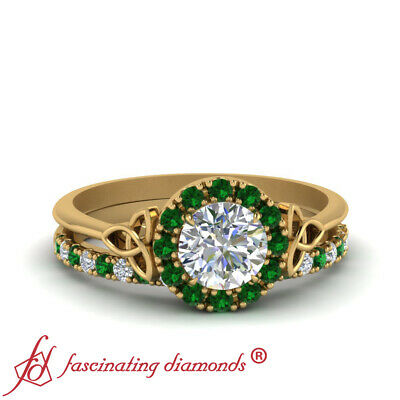 Yellow Gold Celtic Halo Bridal Set With 3/4 Carat Round Cut Diamond And Emerald