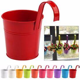 Pack of 10 Color Metal Iron Flower Pot Hanging Balcony Garden Planter Home Decor