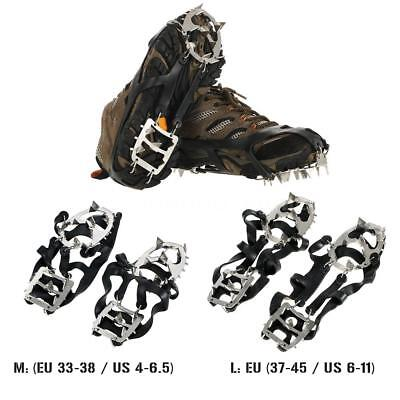 18 Teeth Anti-Slip Traction Cleats Grips Crampon For Snow Ice Safe Protect H7L1