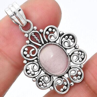 Natural Rose Quartz - Madagascar 925 Sterling Silver Pendant Jewelry 2754 - $11.61