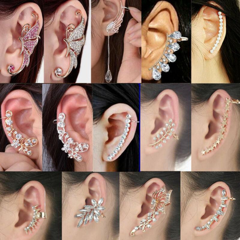 Fashion Crystal Clip Ear Cuff Stud Women's  Punk Wrap Cartil