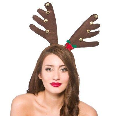 Cuernos Reno con Campanas Lujo Grande Navidad Diadema Marrón Disfraz
