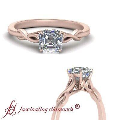 1/2 Carat Single Asscher Cut Diamond Nature Inspired Rose Gold Engagement Ring