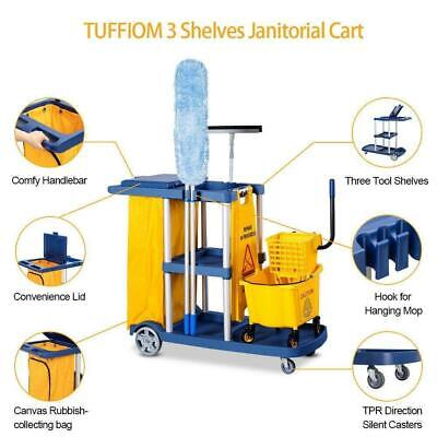 Janitorial Cleaning Cart Rolling Janitor Uitility Cart With 3 Shelves Bag