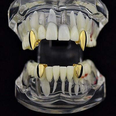 Vampire Fang Set Top Fangs & Two Bottom Caps 14k Gold Plated Dracula K9 Teeth](Teeth Fangs)