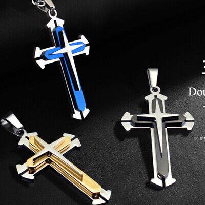 Men Metal Gold/Silver Plated Stainless Steel Cross Pendant With Chain Necklace