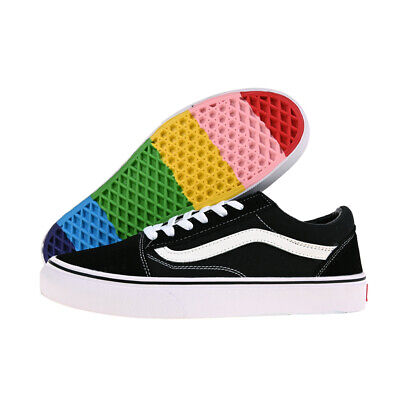 VANS Old Skool Men's Women's Black Skate Shoes Rainbow sole Casual Trainers