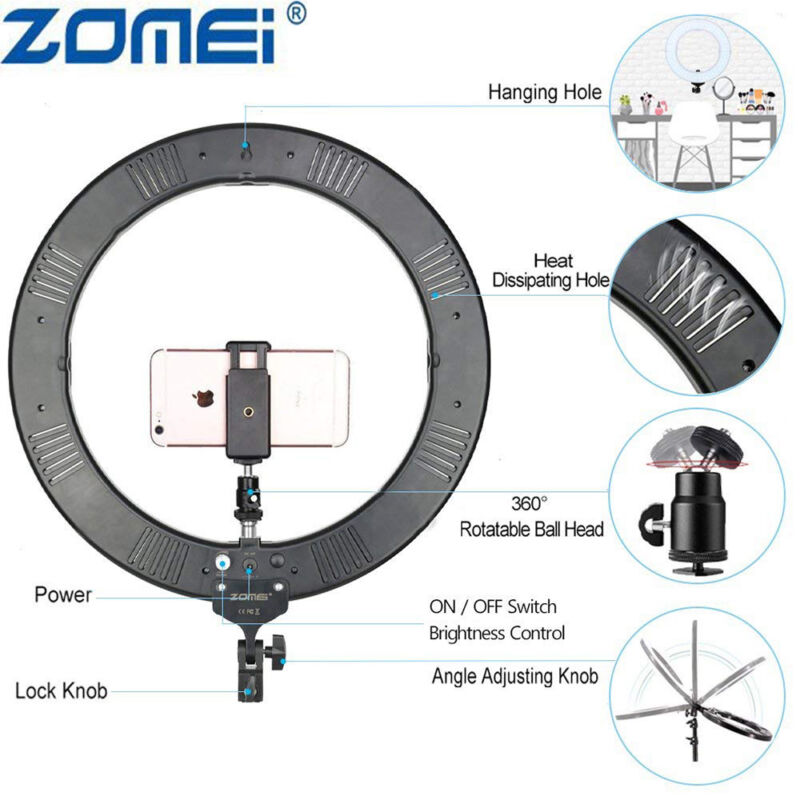 """18"""" LED Ring Light with Stand Kit Color Cover for Phone Camera Makeup live video"""