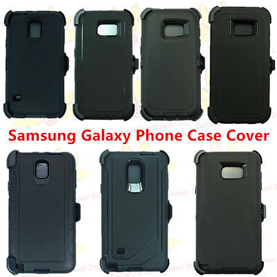 (Black) For Samsung Galaxy Phone Case Cover w/(Belt Clip fits Otterbox Defender)