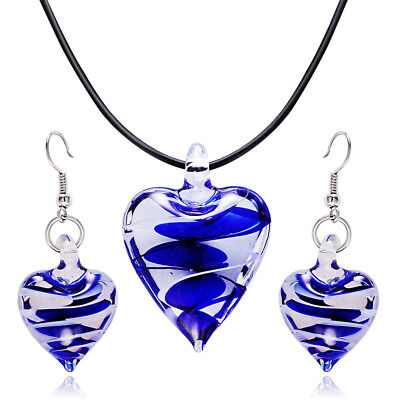 Fashion Blue Peach Heart Earrings Necklace Set Murano Glass Pendant Jewelry Set