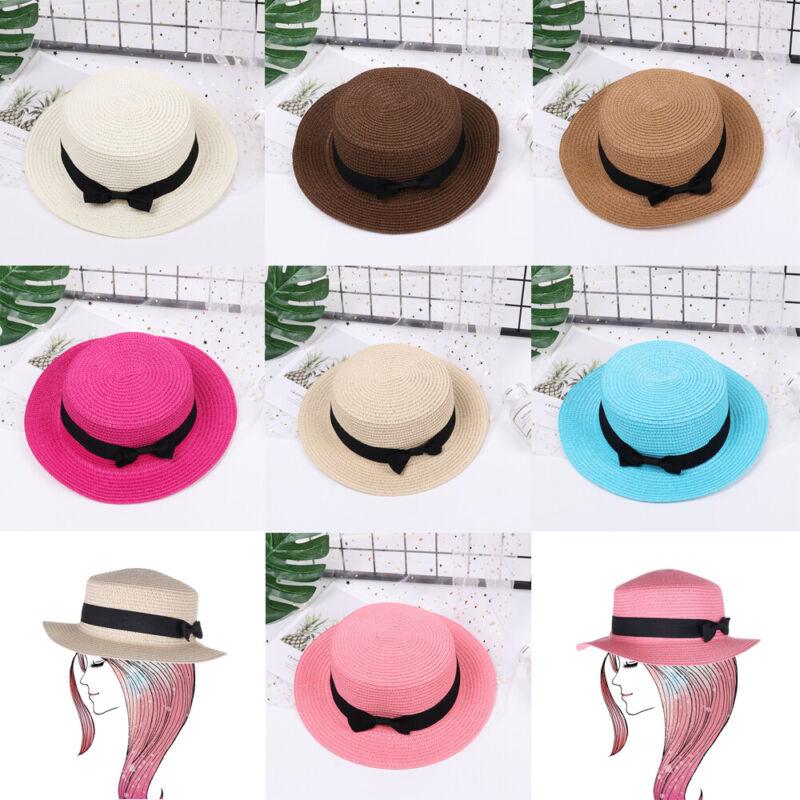 Bowknot  Flat Brim  Panama Sun Hats  Beach Straw Hat  Summer Hat  Ladies Cap