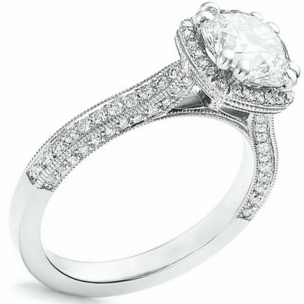 GIA Certified Halo Round Cut Diamond Engagement Ring 18k Gold 2.47 Carat total 1