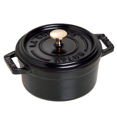 Staub 1101025 Cast Iron Mini Round Cocotte Oven, 0.25 quart, Matte Black