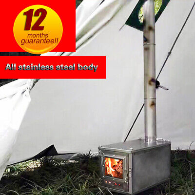Outdoor ultralight titanium wood stove 2meters camping tent heating stove