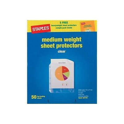 Staples Med-weight Top-loading Sheet Protectors Clear 8 12 X 11 50 Ct 487791