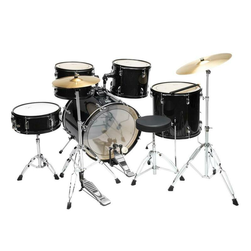 5-Piece Full Size Complete Adult Drum Set w/ Cymbal Stands, Stool, Drum Pedal