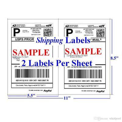 Shipping Labels 50 Self Adhesive 2sheet 8.5 X 5.5 Uspspaypalebay Postage