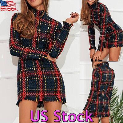 US Women Turtleneck Check Plaid Sweater Dresses Tassel Bodycon Casual Mini Dress (Tartan Plaid Dress)