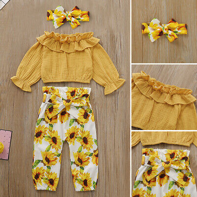 US 3PCS Toddler Baby Girls Ruffle Tops T-Shirt Sunflower Pants Outfits Autumn