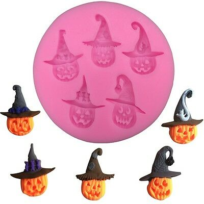 Halloween Pumpkins Witches Hats 3D Silicone Mould Fondant Cake Decorating Topper