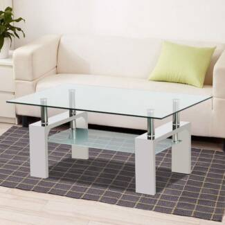 High Gloss Frosted Glass Top Rectangular Coffee Table w/Shelf Sto