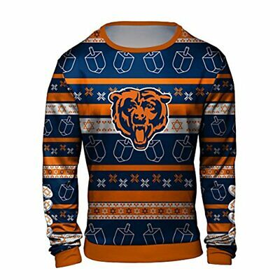 Forever Collectibles NFL Men's Chicago Bears Hanukkah Ugly Crew Neck Sweater - Hanukkah Ugly Sweater