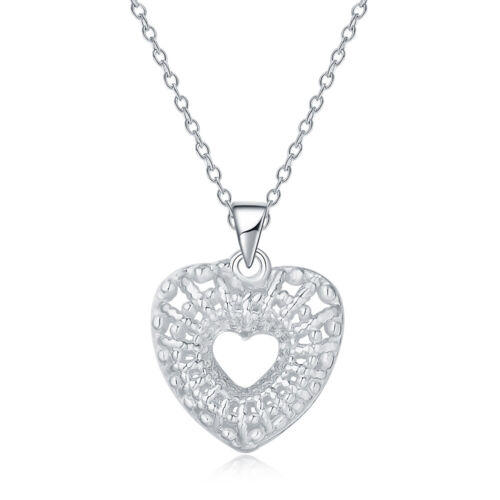 925 fashion silver charms heart necklace jewelry for women w