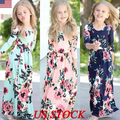 Long Dress Girl (Kids Girls Long Sleeve Floral Maxi Dress Holiday Party Weddding Princess)