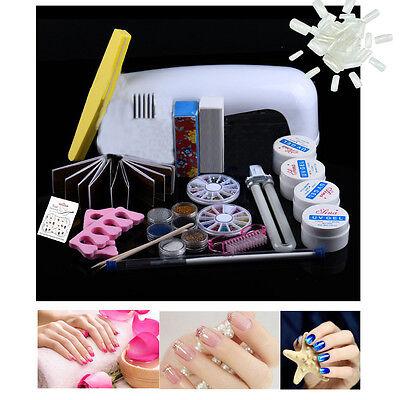 Pro Acrylic Liquid Nail Art Brush Glue Glitter Powder Buffer Tools Set Kit ukk