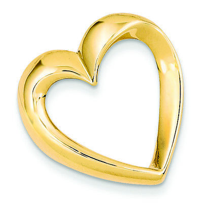 14K Yellow Gold Heart Charm Omega Slide Pendant MSRP $643 ()