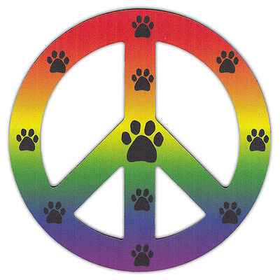 Peace Sign Shaped Magnets (See Through): Rainbow Design w/Paw Prints (LGBT)