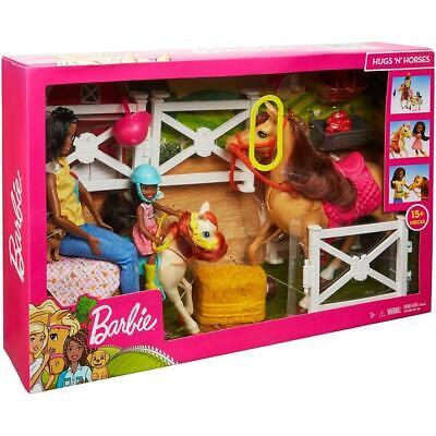 Barbie Hugs 'N' Horses Playset with Barbie & Chelsea Dolls, Brunette Barbie Hugs
