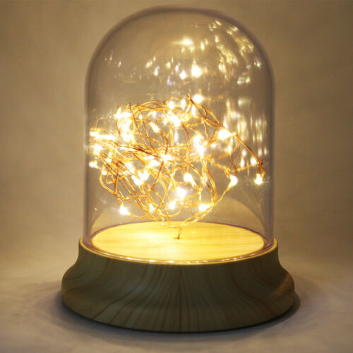 LED DIY Fairy String Desk Table Wire Lamp Night Light Wood Base Bedroom USA Ship Home & Garden