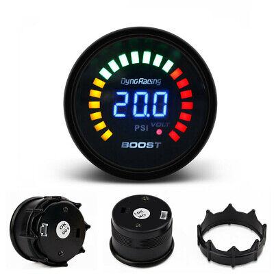 2'' 52mm Turbo Boost Pressure Gauge Blue LED Digital Analog Smoked Meter PSI 12V