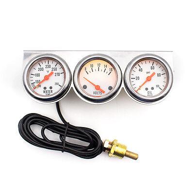 2'' 52mm Universal Chrome Volt Water Oil Pressure Triple 3 Gauge Set Gauges Kit